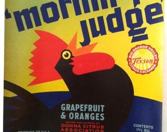 Original Vintage Mornin Judge Brand Citrus Fruit Crate Label Packed & Shipped by Donna Citrus Association Donna, Texas