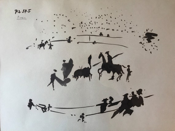 Original Ink Painting after Pablo Picasso - Tauromaquia