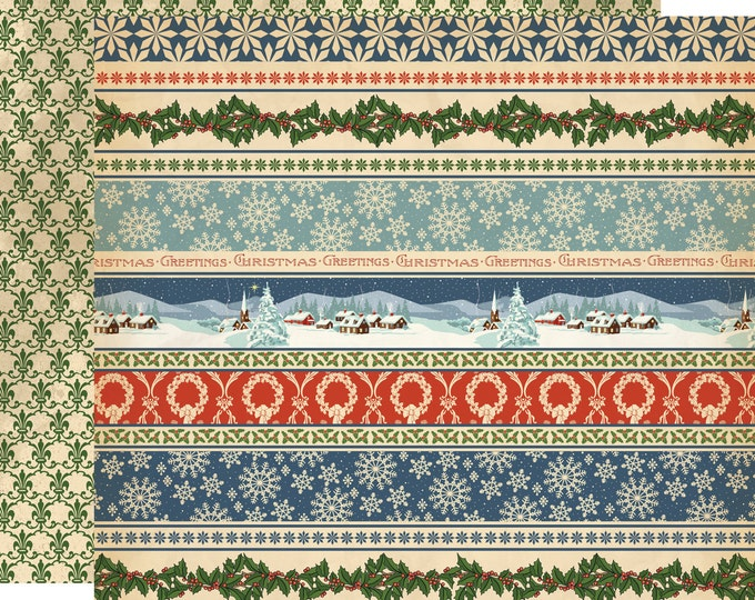 2 Sheets of Carta Bella Paper CHRISTMAS WONDERLAND 12x12 Scrapbook Paper - Christmas Now and Then (CBCW46008)