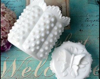 Fenton Butterfly Candy Box / Vintage Milk Glass Hobnail Candy Dish / Vintage Milk Glass Covered Jar