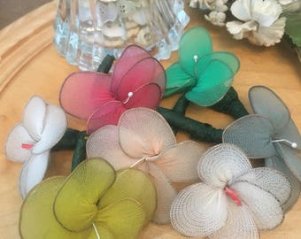 Lot of handmade nylon corsages pins pastel weddings dances