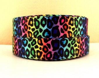 1 inch RAINBOW CHEETAH - Animal Print - D530 - Printed Grosgrain Ribbon for Hair Bow