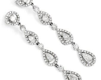 Pear Diamond Halo Dangle Drop Earrings in 18kt White Gold 3.00ctw