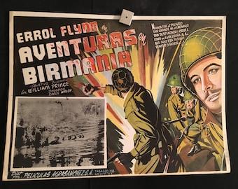Original 1945 Objective Burma Movie Poster, Errol Flynn, WW2, Army, War, William Prince
