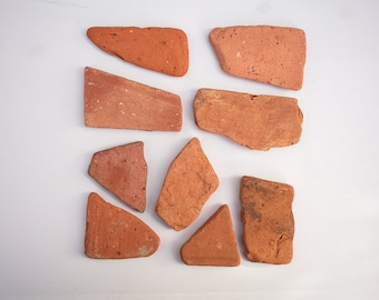 9X BRICK TILE FRAGMENTS, beach find, surf tumbled, reclaimed brick, salvage tiles, craft supplies, raw materials, sea pottery, mosaic art