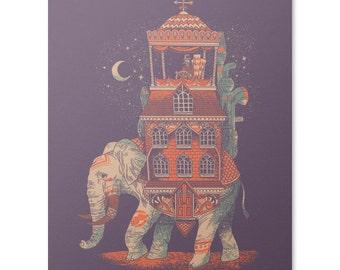 Elephant Wall Art, Elephant Print 8 x 10, India Poster, Surreal Travelling Home Print, Fantasy Animal Art, Unusual Home Decor