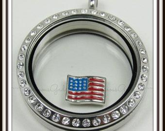 American Flag Floating Charm for Glass Locket / Floating Locket