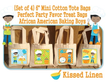 African American Boys Baking Party Favor Bags Baking Cooking Chef's Birthday Treat Favor Gift Bags Mini Cotton Totes Children Kid