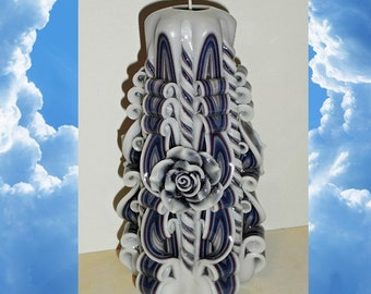 Rose candle - Anniversary gifts - Handmade gift candle - Hand Carved candles -Unusual gifts - Wedding -  6.7 inch/ 17cm