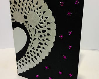 Dazzling Valentine's Day Card, Bejeweled Love, Card for her, Card for him, Unique greeting card with jewels
