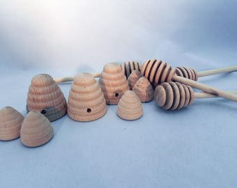 Natural & Unfinished USA Made Wooden Honey Dippers and Bee Hives