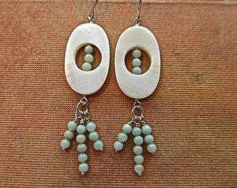 sterling silver earrings with mother-of-pearl and green quartz