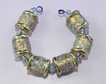 Handmade Lampwork Glass bead set of 6 Pale Blue Fire Opal beads Silver Glass SRA