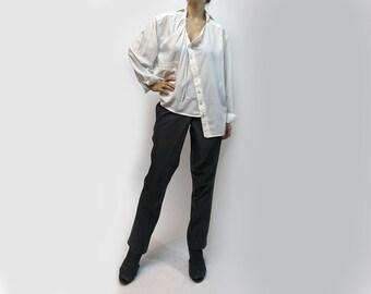 blouse,white blouse,loose blouse,shirt,long sleeves,size plus,fall trend,original blouse,white tyunic,asymmetric blouse,casual  Item B42