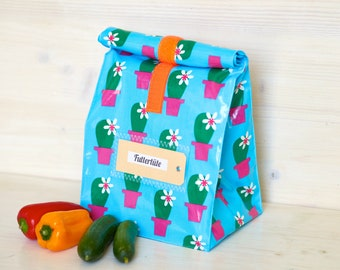 Lunchbox, bread bag, cactus in pot, coated cotton