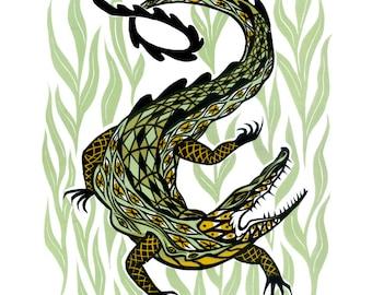 Alligator/Crocodile three-color relief print