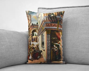 "the annunciation  - 14"" x 20"" velveteen pillow case - carlo crivelli, 1486"