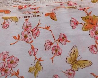 Girlie Pink APPLE BLOSSOM & BUTTERFLY Cotton Fabric, Flowers Green Orange Fluttering Flyers, J Manes Dress Jumper Pillowcases Quilt Blocks