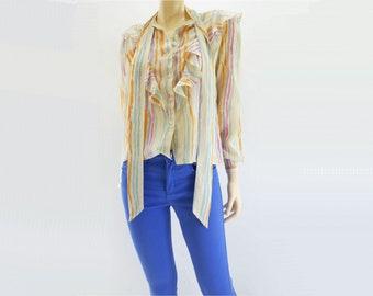 Vintage Silk Shirt 70s Vintage Silk Blouse Bow Blouse High Collar Blouse Secretary Blouse xs
