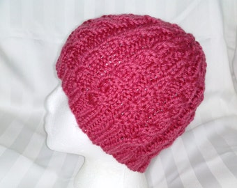 Knitted Beanie. Beanies for Women. Knit Hat. Washable Merino Wool and Acrylic. Dark Pink. Hats for Her. Gifts for Women. Hats for Women.