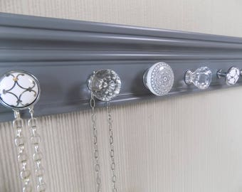 YOU CHOOSE 5-7 or 9 KNOBS Gray jewelry organizer. This Wall necklace rack makes a Great gift closet organizer jewelry storage & decor