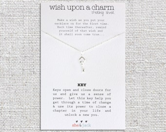KEY - Wish Necklace - Sterling Silver Charm & Chain
