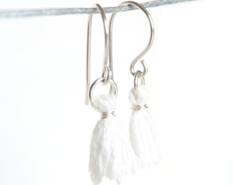 Snow White Tassel Earrings - Tiny Tassel Earrings - White Dangle Earrings in Argentium Silver - Dainty White Earrings
