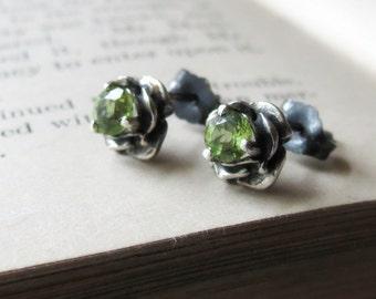 Flower Gemstone Earrings Stud Earring Sterling Silver with 4mm Gemstone post