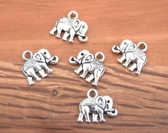10 charms elephant antique silver 14x12mm B42