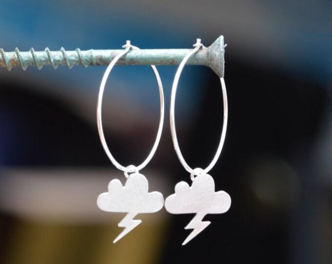 Lightning Cloud Earrings, Weather Forecast Earrings In Solid Sterling Silver, Handmade In England