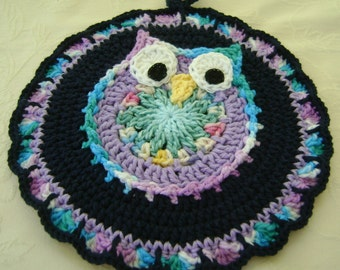 Crocheted Hot Mat Trivet Pot Holder Night Owl Decor 100% Cotton Yarn Double Thickness Blue, Lavender
