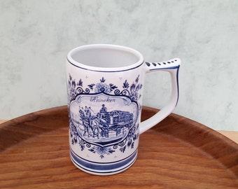 Vintage Porcelain Mug, Dutch Delft Blue and White Mug Heineken