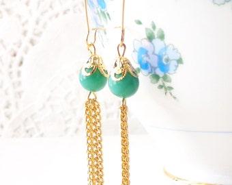 Gold Tassel Earrings - Beaded Tassel Earrings - Jade Green Opaque Tassel Earrings - Long Dangle Earrings - Gold Chain Tassel Earrings