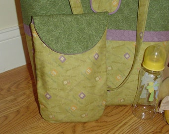 Handmade Diaper and Baby Wipe Pouch - Green Baby Food Jar Print