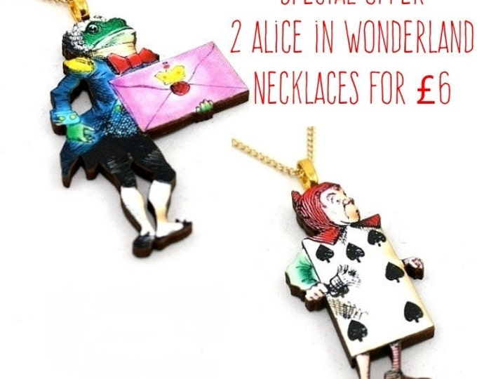 SALE - Playing Card and Frog Footman Alice In Wonderland Pendant Necklaces