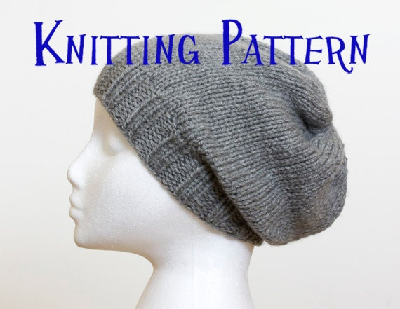 Instant Download Pdf Knitting Pattern Slouchy Beanie Hat Knitting