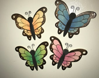 Pyrography Butterfly Magnets