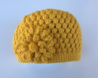 READY TO SHIP/Yellow/Gold/Crochet/Knit Hat/Beanie/Cap/Warm/Thick Chunky/Winter Hat/Flower Hat/Adult/Women/Ladies/Girls/Toque/Gift for Her