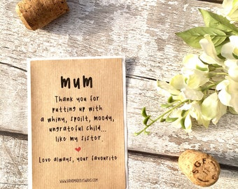 Funny wine label, replacement wine label, mum birthday gift, funny birthday, mum gift, for her, wine bottle, wine labels, spoilt sister