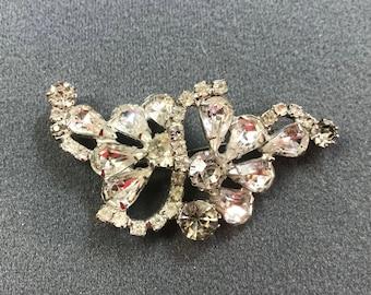 Sparkly Vintage Clear Rhinestone Brooch-Free shipping