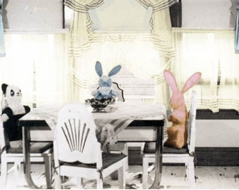 Easter Bunny and Bear Sit at Vintage Kitchen Table Fine Art Photograph