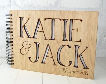 Personalised Wooden Wedding Guest Book, Alternative Guest Book, Custom Scrap Book, Unique Wedding Guest Book, Photo Album, Cherry or  Oak