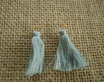 Set of 2 tassels tassel with a ring, green gray color, size 4 cm
