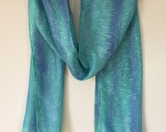 Green Blue Silk Scarf: OOAK/Hand Painted Silk/Abstract Scarf/Abstract Art/Hand Painted Scarf/Womens Gift/Gift for Her/Mothers Day Gift/Teal