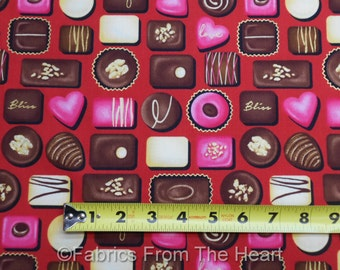 Chocolates Candy Forever Yours on Red w Gold  BY YARDS Henry Glass Cotton Fabric