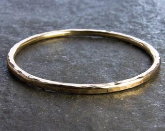 Hammered Goldfill Bangle. Thicker Gauge 14/20 Gold Filled Bangle. Custom Bracelet, Custom Jewelry. Rustic Elegance.