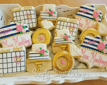 Engagement, bridal shower cookies, save the date,wedding, Bachelorette (24 cookies)