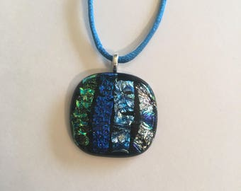 Blue multi dichroic fused glass necklace
