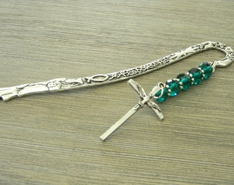 Holy Spirit Dove Bookmark with Green Glass Beads Silver Color Shepherd Hook Christian Bookmark