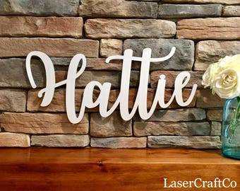 "Wood Name Cutout 12""- 48"" in Width - Cursive Name Sign Name Cutout Custom Name Cutout Wooden Word cutout Word Sign Cursive Word Sign"